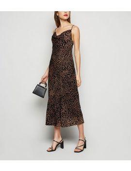 Brown Leopard Print Devoré Midi Slip Dress by New Look