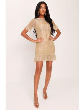 Gold Glitter Mesh Frill Hem Dress by I Saw It First