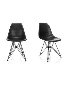 Dsr Molded Black Plastic Dining Shell Chair With Black Eiffel Steel Leg (Set Of 2) by Generic