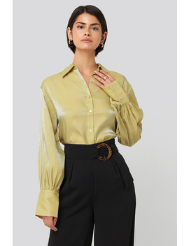 Shiny Puff Sleeve Blouse Green by Nakdclassic