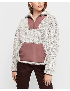 Cozy Kangaroo Pocket Sherpa Sweatshirt by Express