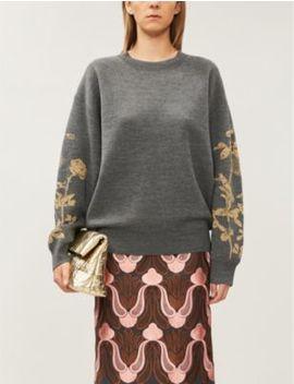 Tabasco Floral Pattern Loose Fit Wool Blend Jumper by Dries Van Noten