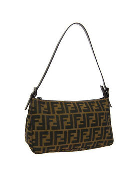 Fendi Zucca Pattern Shoulder Bag Brown Canvas Leather Vintage Authentic A46801 by Fendi