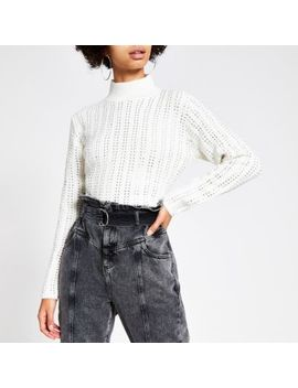 Cream Diamante Cropped Knitted Jumper by River Island