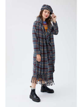 Uo Frenchie Checkered Fringe Wrap Coat by Urban Outfitters
