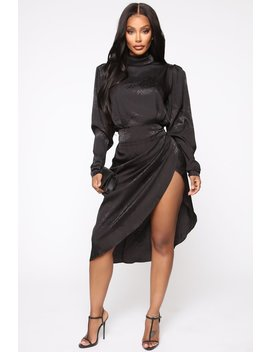 Subtle Shades Satin Midi Dress   Black by Fashion Nova
