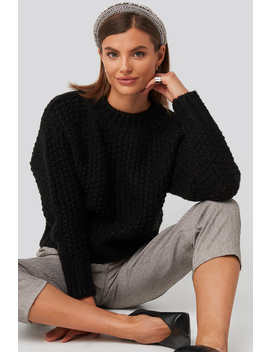 Heavy Knitted Wide Rib Sweater Black by Na Kd Trend
