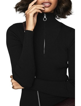 Evette Ring Pull Zipper Long Sleeve Sweater Dress by Reiss