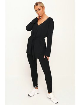 Black Ribbed Belted Loungewear Set by I Saw It First