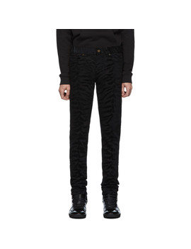 Black Zebra Skinny Jeans by Saint Laurent