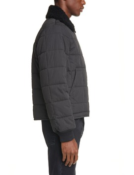 Quilted Bomber Jacket With Genuine Shearling Collar by Helmut Lang