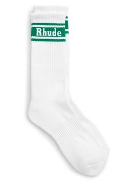 Logo Stripe Rib Crew Socks by Rhude