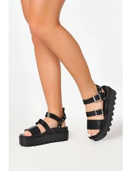 Black Cleated Platform Sandals by I Saw It First