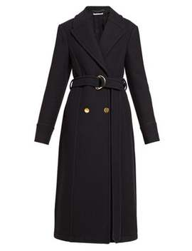 Double Breasted Belted Felt Coat by Stella Mc Cartney