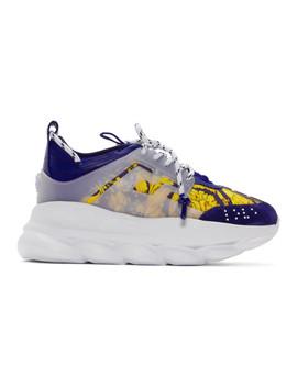 Blue & Gold Heritage 'crete De Fleur' Chain Reaction Sneakers by Versace