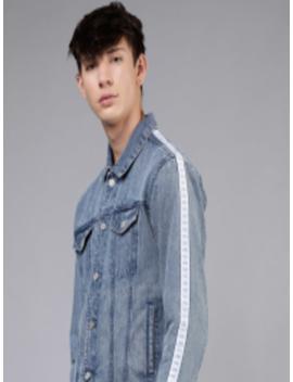 Men Blue Solid Jacket by Ecko Unltd