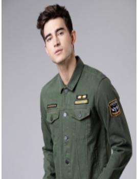 Men Olive Green Self Design Jacket by Ecko Unltd