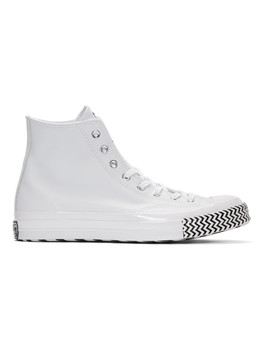 White Leather Chuck 70 Mission V Hi Sneakers by Converse
