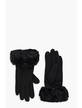 Faux Fur Trim Glove by Boohoo
