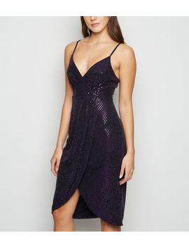 Blue Vanilla Dark Purple Metallic Cami Wrap Dress by New Look