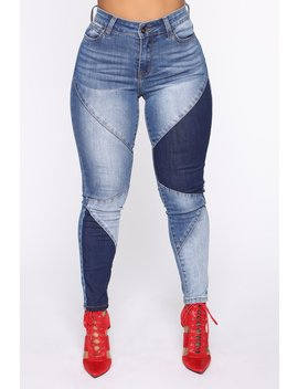 Stay In Line Mid Rise Skinny Jeans   Medium Wash by Fashion Nova