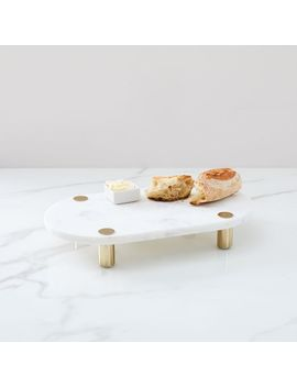 Marble + Brass Footed Board by West Elm