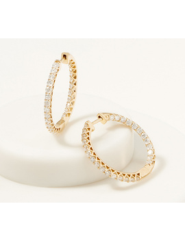 Affinity 14 K Gold Inside Out Diamond Hoop Earrings, 2.00cttw by The Inside Out  That's What These Diamond Hoop Earrings Are Designed To Do, Adding A Gorgeous Gleam