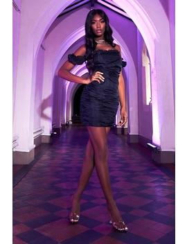 Black Bardot Mesh Ruched Puff Sleeve Bodycon Dress by I Saw It First