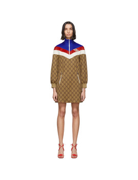 Beige Gg Logo Dress by Gucci