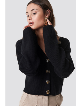 Short Buttoned Knitted Sweater Noir by Na Kd