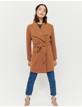 Camel Wrap Front Coat by Tally W Ei Jl