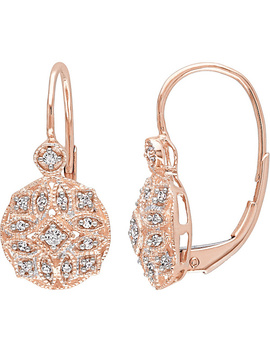 Affinity 1/8 Cttw Diamond Filigree Earrings,14 K Rose Gold by Affinity(R) Diamond Jewelry