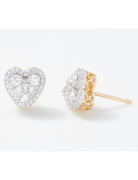 Affinity 14 K Gold Heart Diamond Cluster Stud Earrings, 1/2 Cttw by Affinity® Diamond Jewelry