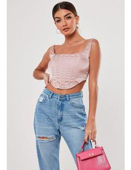 Stassie X Missguided Top Corsé De Satén En Rosa by Missguided