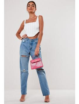 Stassie X Missguided Top Corsé De Satén En Blanco by Missguided