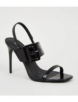 Black Metallic Faux Snake Buckle Stilettos by New Look