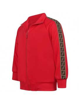 Red Logo Trim Zip Up Top by Fendi