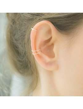 Earrings  Cartilage Earrings  Double Cuff Diamond Cut  Fake Ear Piercing  Silver Ear Cuff  Cartilage Cuff  Non Pierced Earring  Clip On by Etsy