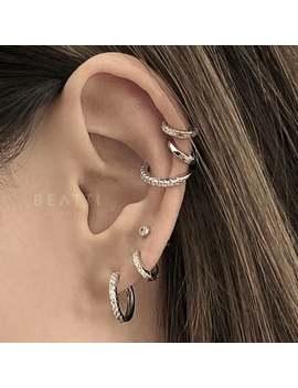 Cz Pave Hoop, Medium Pave Hoop, Conch Earring, Cartilage Hoop, Conch Hoop, 18g Hoop, Conch Piercing, 925 Silver Hoop, Gold Vermeil Hoop by Etsy