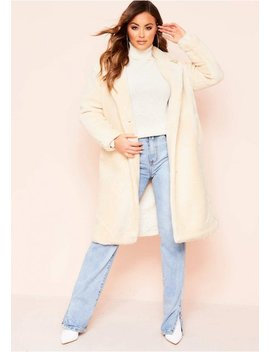 Remy Cream Faux Fur Midi Oversized Coat by Missy Empire