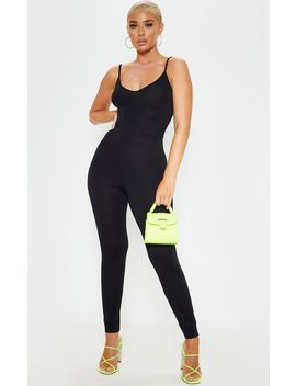 Black Basic Strappy Plunge Jumpsuit by Prettylittlething