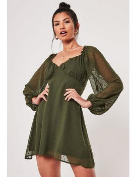Khaki Dobby Milkmaid Mini Dress by Missguided
