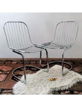 Pair Of Mid Century Modern Chrome Chairs, Gastone Rinaldi Cantilever Chairs, Vintage Designer Chairs, 1970s Italian Wire Dining Chairs by Etsy
