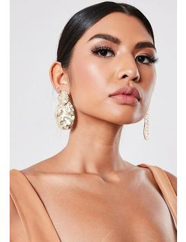 Gold Look Hammered Gem Detail Earrings by Missguided