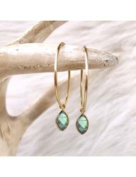 Labradorite Earrings, Labradorite Hoops, Gray Earrings, Gemstone Hoops, Endless Hoops, Blue Flash Stone, 14kt Gold Filled, Sterling Silver by Etsy