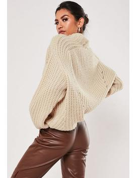 Stone Chunky Knitted High Neck Jumper by Missguided