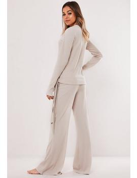 Cream Rib Tie Side Loungewear Set by Missguided