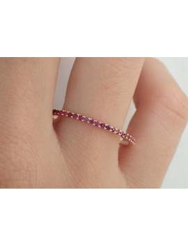 Micro Pave Ruby Half Eternity Wedding Band, Thin Dainty Stacking Ruby Band, 14k Gold Delicate Ruby Ring by Etsy