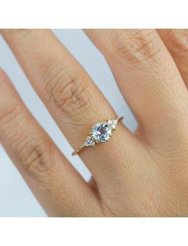 Engagement Ring Aquamarine, Vintage Engagement Ring, Engagement Ring Gold Diamond, Delicate Engagement Ring, Simple Engagement Ring by Etsy