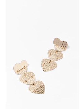 Hammered Tiered Heart Drop Earrings by Forever 21